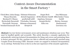 Context-Aware Documentation in the Smart Factory - eine wissenschaftliche Publikation im